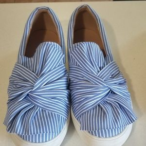 Blue and White Striped Flats with a Knot detail